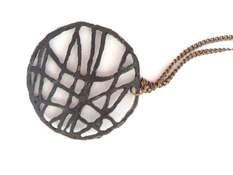 Organic pendant Round lines necklace Round necklace Charm Necklace Rustic necklace Oxidized brass pendant Circle pendant Free lines