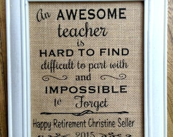 Teacher Retirement Gift Burlap Print Custom For Personalized Gifts Canvas