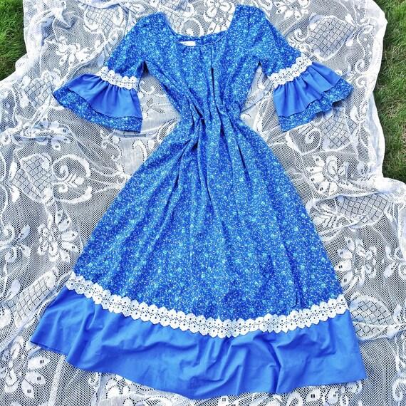 Vintage 1960s/1970s Blue Colorblock Floral Print M