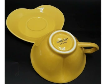 New Mary Kay Soft Romantic Heart Shaped Porcelain Saucer and Tea Cup Set Yellow