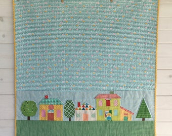 House baby quilt, Square baby quilt, Baby blanket, Paper pieced baby quilt, Stroller blanket, crib blanket, handmade quilt, Baby wallhanging