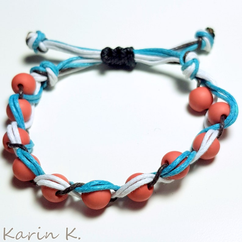 Plain Knotted Bracelet Macram\u00e9 Macrame Plastic Beads in Orange Brown Ribbons in White Turquoise and Brown