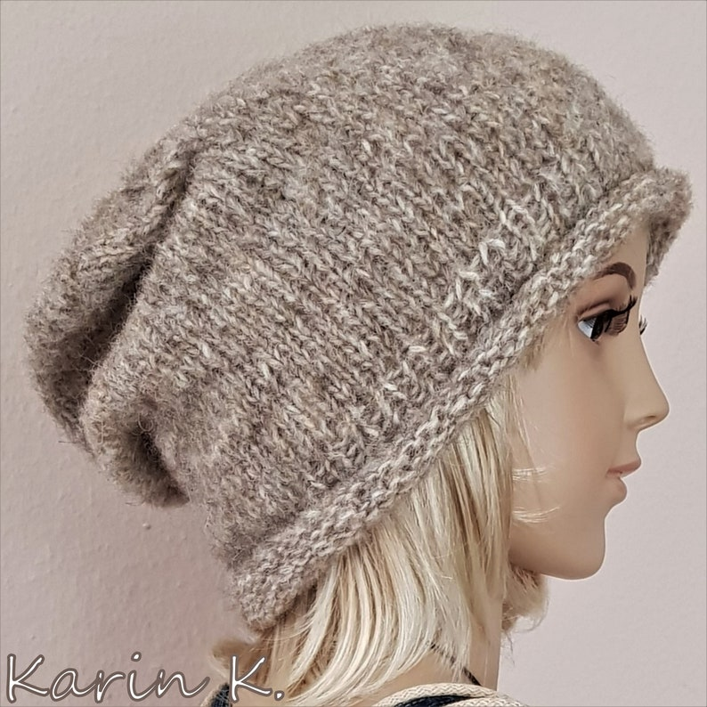 Beanie  hat with roll rim knitted from finest wool GARZATO FLEECE by Lana Grossa Perimeter 56 cm Beige sand and taupe