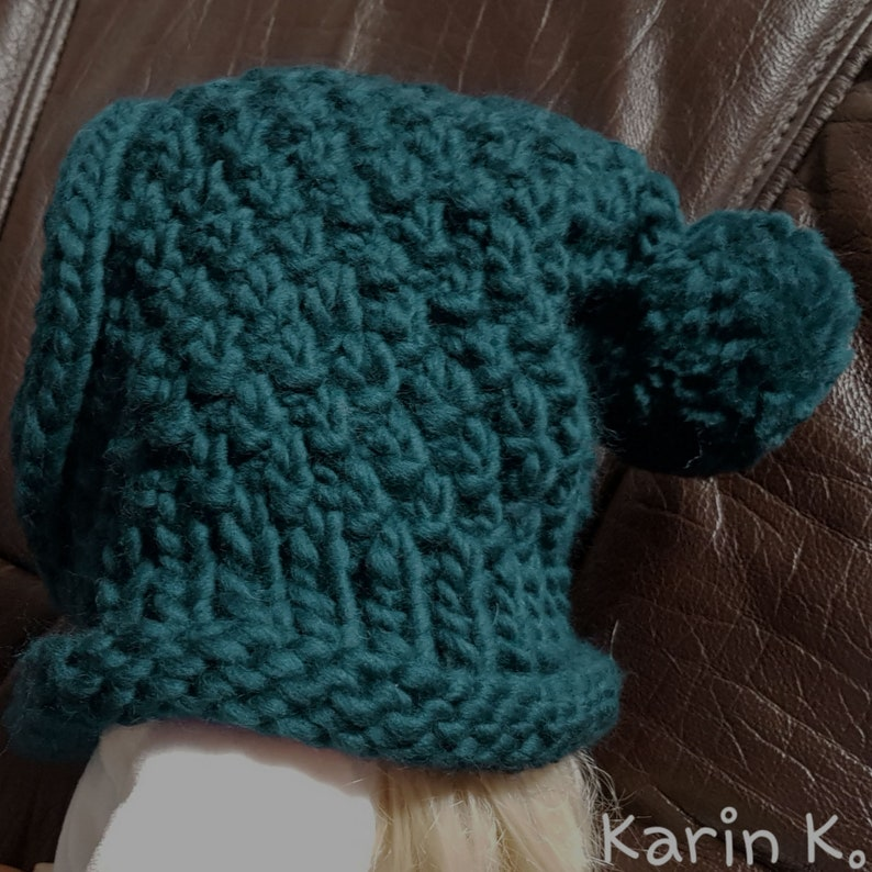 Knitted hose scarf with hoodhooded scarf with pompom in dark teal baby toddler hand knitted from LEI by Lana Grossa