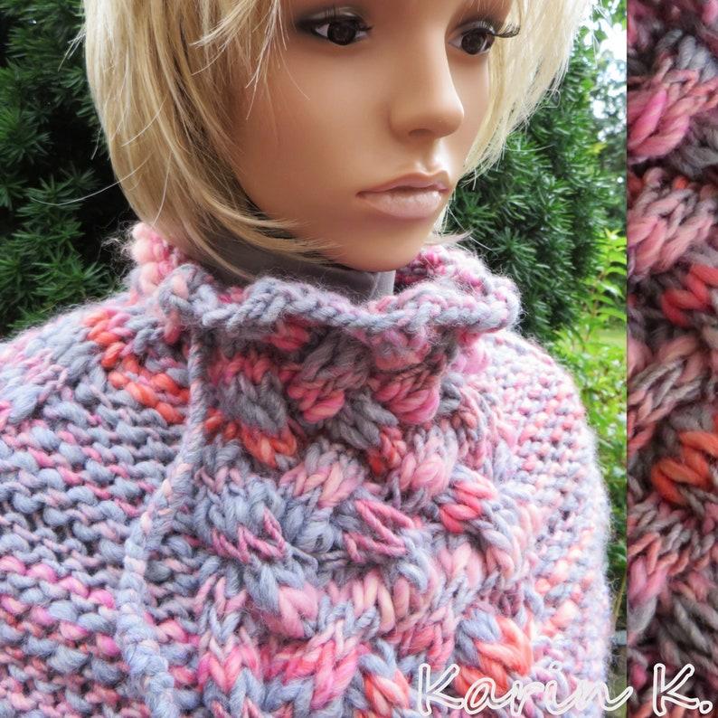 Short Poncho Shoulder Flatter Grey Ros\u00e9 Salmon Orange Gradient Lana Grossa Size 36 38 40