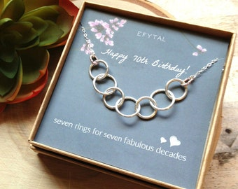 Happy 70th Birthday Gifts For Women Necklace Sterling Silver 7 Thick Rings 70 Years Seven Decades Gift Ideas