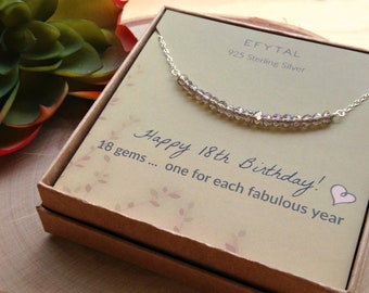 18th Birthday Gifts For Girls Sterling Silver Necklace 18 Beads Year Old Girl Jewelry Gift Idea
