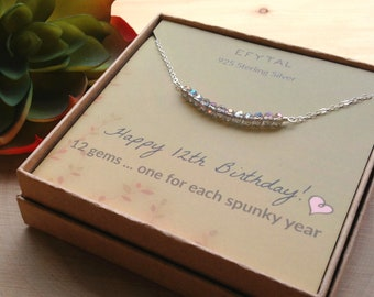 12th Birthday Gifts For Girls Sterling Silver Necklace 12 Beads Year Old Girl Bat Mitzvah Gift