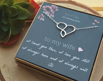 3c7cccdfd2a193 Wife Gifts, Wife Birthday Gift Ideas For Her, Romantic Sterling Silver  Infinity Heart Necklace, Anniversary / Valentines Day Present 96