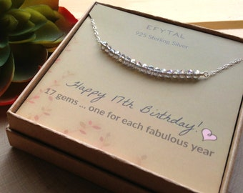 17th Birthday Gifts For Girls Sterling Silver Necklace 17 Beads Year Old Girl Jewelry Gift Idea