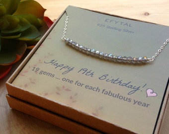 19th Birthday Gifts For Girls Sterling Silver Necklace 19 Beads Year Old Girl Jewelry Gift Idea