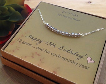 13th Birthday Gifts For Girls Sterling Silver Necklace 13 Beads Year Old Girl Bat Mitzvah Gift Present New Teen
