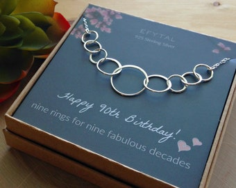 90th Birthday Gifts For Women Sterling Silver Nine Circle Necklace Her 9 Decade Jewelry 90 Years Old