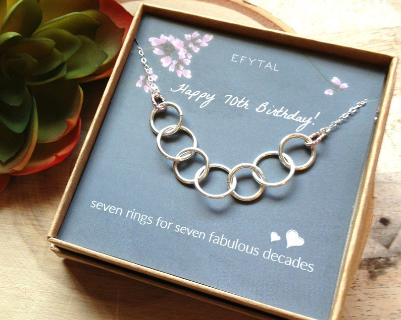 Happy 70th Birthday Gifts For Women Necklace Sterling Silver