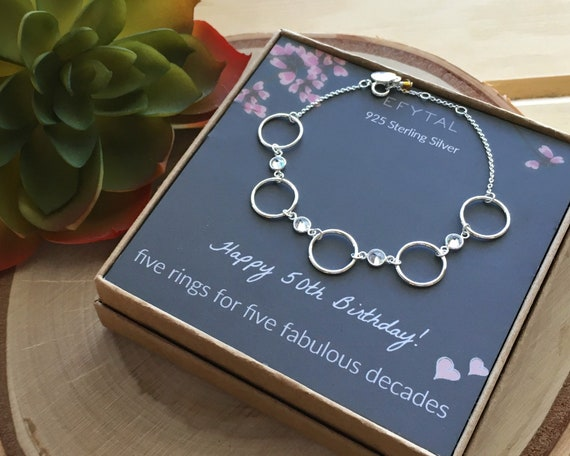 five circle necklace for her 5 decade jewelry 50 years old 50th Birthday Gifts for Women