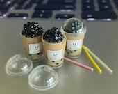 Handmade 1 12 Dollhouse Miniature Bubble milk Tea coffee with lid and straw Miniature Bubble Tea Dollhouse Boba Tea