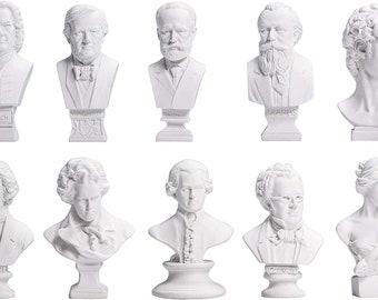 1:6 Miniature dollhouse famous resin Music Composers musician plaster Bust Statue figure Sculptures Beethoven, Mozart,Tchaikovsky,Brahms