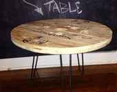 unfinished spool table.