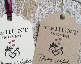 Custom The Hunt is Over Wedding favor tags set of 40 Hunting Wedding Tags