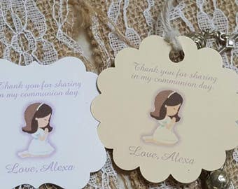 Personalized Favor Tags 2x2 First Communion Tags Thank Etsy