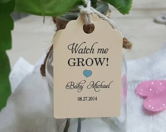 """Personalized Favor Tags 2""""L x1""""w Wedding tags, Thank You tags, Favor tags, Gift tags, watch me grow, grow, seeds favor tags,  plants favor"""
