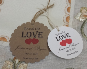 Personalized Spread the Love Favor Tags 2 1/2'', Wedding tags, Thank You tags, Favor tags, Gift tags, Bridal Shower Favor Tags,