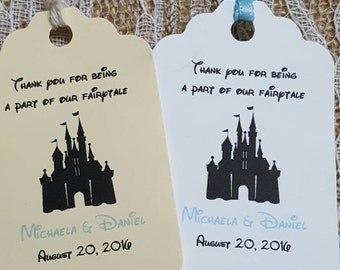 """Personalized Favor Tags 2.5""""L x1.8"""", Wedding tags, Thank You tags, Bridal Shower Favor Tags, disney wedding, fairy tale, cinderella castle"""