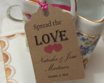 """Personalized Spread the Love Favor Tags 2.5""""L x1.8""""w, Wedding tags, Thank You tags, Favor tags, Gift tags, Bridal Shower Favor Tags,"""
