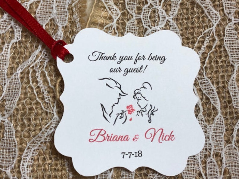 beauty and the beast Favor tags Thank You tags BELLE TAGS, Gift tags disney wedding tags beauty and the beast Favor Tags,Wedding tags