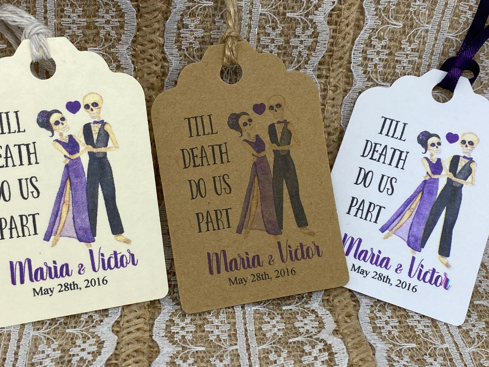 """Halloween Gothic Favors Tags - """"TIll DEATH DO US PART"""""""