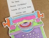 Handmade Typewriter Card Personalised Any Message
