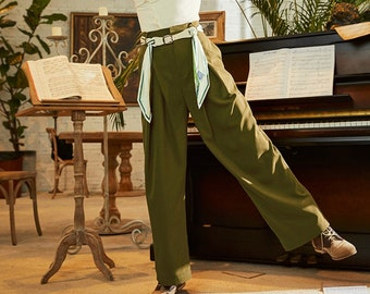 Fine Art Collection Van Gogh oil painting inspired white/green high waist pants with designed belt
