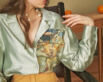 Fine Art Collection blue/green Van Gogh almond blossom inspired floral shirt