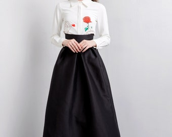 Fine Art Collection White Rose Petals Shirt Black Long Gorgeous Evening Skirt
