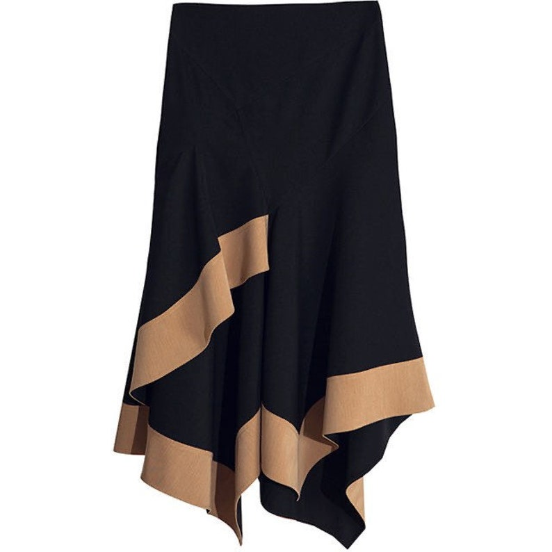 La Chic Parisienne Collection black brown irregular mermaid skirt