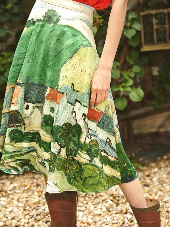 FineArt Collection Van Gogh oil painting sunflower inspired grid short skirtblue knit top