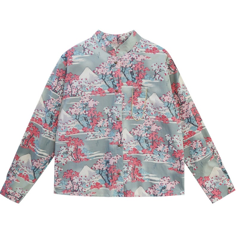 Lost in Kyoto collection blue cherry blossombrown maple leaves Japanese painting fuji mountain kimono top