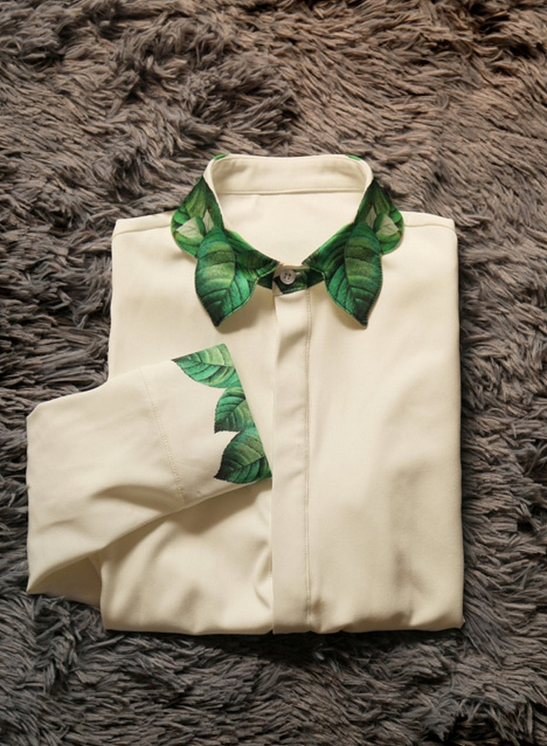 Fine Art Collection white green spring leaves collar and cuff unique shirtskirt