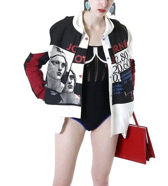 XIV Rome Collection black white red poster style short jacket
