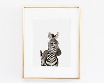 Wildlife Nursery Art Print | Zebra Wall Art | Nursery Printable | Nursery Wall Art | Zebra Art Print | Animal Nursery Art | Zebra Printable