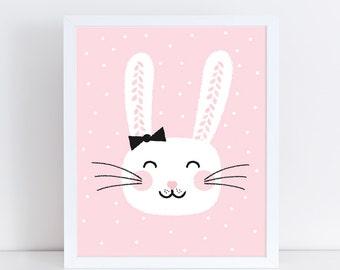 Bunny Art Printable | Nursery Art | Nursery Decor | Kids Room Decor | Bunny Poster | Nursery Prints | Girl Room Decor | Baby Shower Gift
