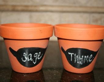 Set of 2 Chalkboard Painted Terra Cotta Pots