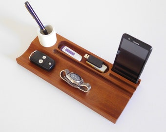 Wood office organizer pen tray with concrete cup, desk accessories for men, Christmas gift ideas for him