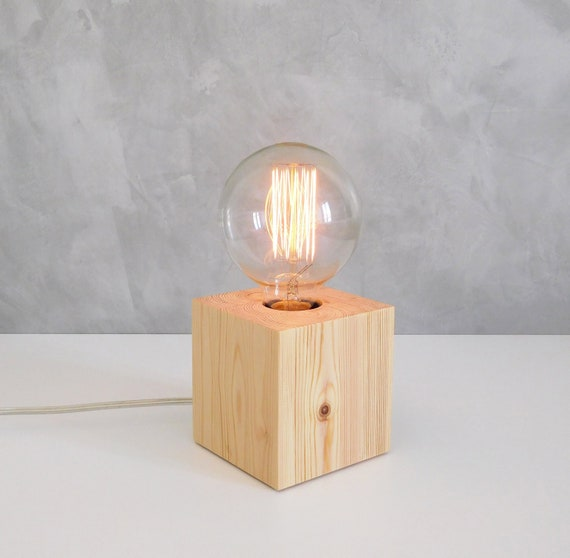 Wood edison table lamp, small dimmable bedroom warm light nordic lamp, wood gift for him