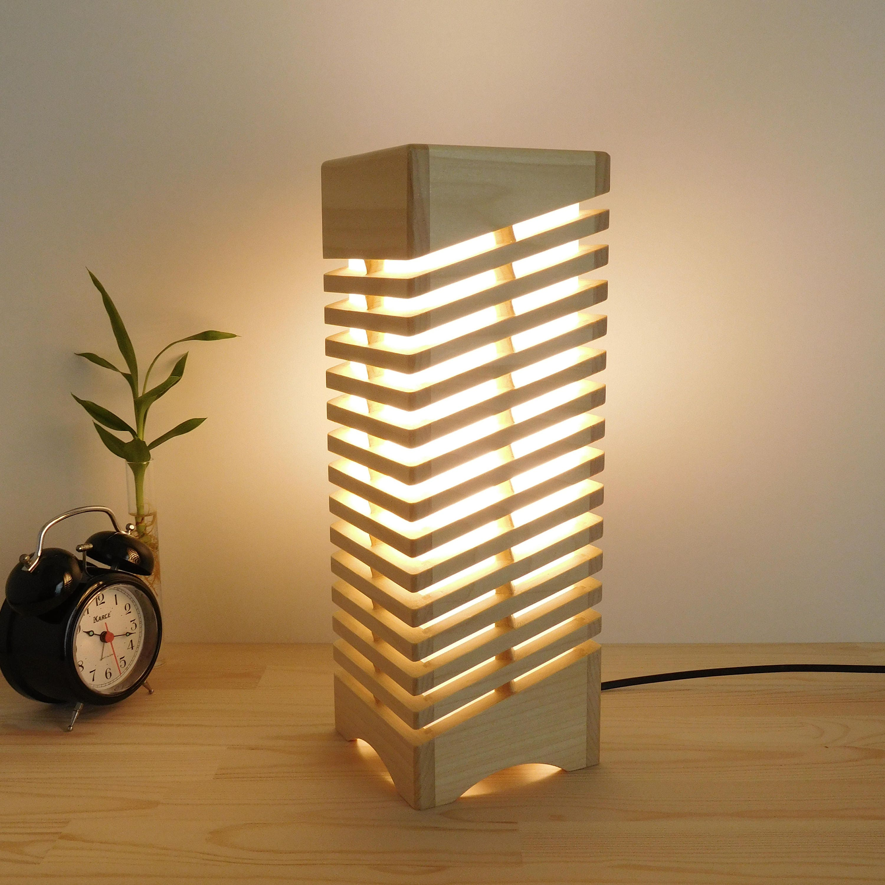 Table Wood Lamp For Nightstand Handmade Wooden Led Lamp