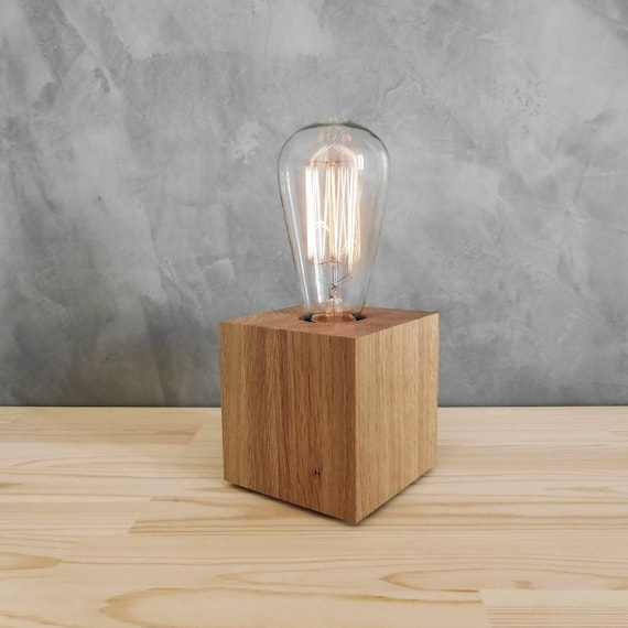 Rustic Edison Oak Lamp Base With Dimmer Small Table Lamp For Etsy