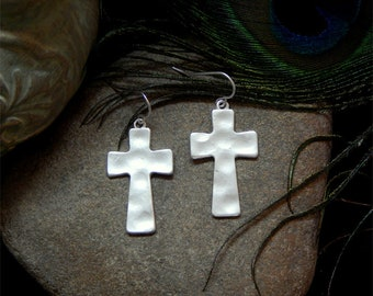 73262682a Bohemian Inspired Matte Finished Hammered Silver Statement Cross Drop  Earrings