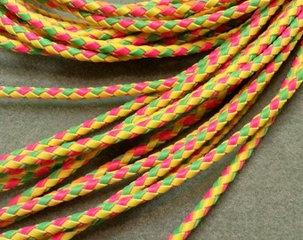 Bolo Tie Cord, Bright Pink, Green and Yellow, 36 3/4 inches long BBTC1B