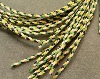 Bolo Tie Cord, Bright Green, Chartreuse, White and Black , 38 inches long BBTC2b