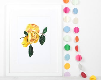 floral print for nursery, yellow flower art, yellow rose print, girls bedroom decor, instant download, nursery wall decor, gift for daughter